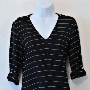 ZARA Button Black Pinstripe V-neck Blouse